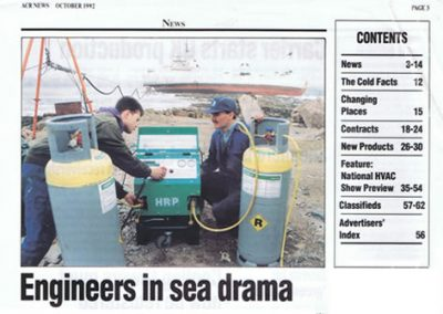 FR4D in use recovering 1500kg of R22 from stranded tanker